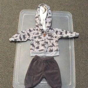 Fleece jacket&pant set